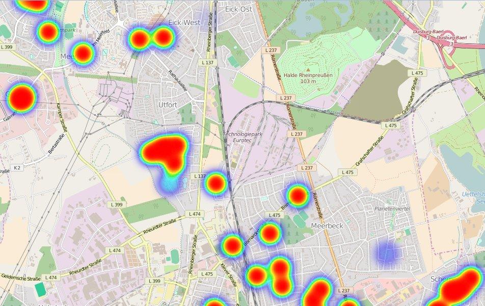 Heatmaps Bußgelder fließender Verkehr